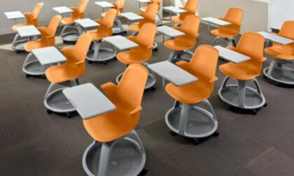 I banchi con le rotelle sono arrivati ora che la scuola è chiusa...